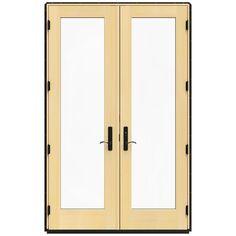 JELD-WEN 59.25 in. x 95.5 in. W-4500 Black Left Hand Inswing French Wood Patio Door