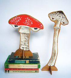 Hand painted wooden sculpture -- Tall Spotted Mushroom with Eyes