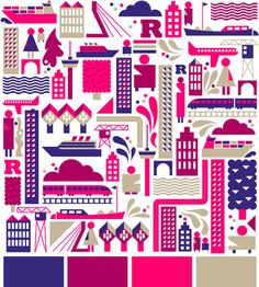 Loulou and Tummie always produce colorful, vibrant pieces, so they're agreat resource for color palette inspiration. Today thisthis city art printcaught myeye.