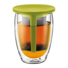 Double wall borosilicate glassSilicone lid doubles as a saucerBorosilicate glass is scratch resistantLightweight, thermal, borosilicate glass; 2-layer construction resists heat and prevents condensationMicrowave and dishwasher safeSay goodbye to tea bags and enjoy a perfect cup of tea with this stylish Tea For One set. Just like a Bodum teapot, it allows free-swirling tea leaves to release their full potential, but on a smaller, individual scale! The finely woven plastic filter ensures that…