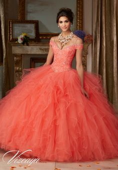 Morilee Vizcaya Quinceanera Dress 89102 BEADED LACE ON A RUFFLED TULLE BALL GOWN  Matching Stole. Available in Coral, Scuba Blue, Champagne/Blush, White (Color of this dress): Coral