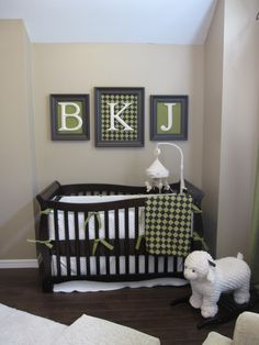 over crib- I can do this with the letter I bought that don't have a hanging thing on the back...