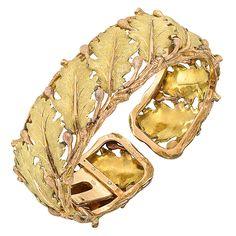 Buccellati Gold Oak Leaf Cuff Bracelet | From a unique collection of vintage cuff bracelets at https://www.1stdibs.com/jewelry/bracelets/cuff-bracelets/