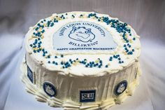 This cake was made for Mackenzie, a recent SLU graduate, at the request of her grandmother. This vanilla cake has whipped cream frosting, a fruity custard filling and has a SLU Billiken theme. This feeds about 24 people. Congratulations Mackenzie!