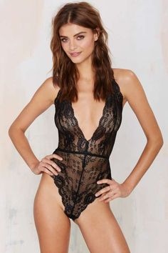 Nasty Gal Whole Lotta Rosie Lace Bodysuit - Clothes