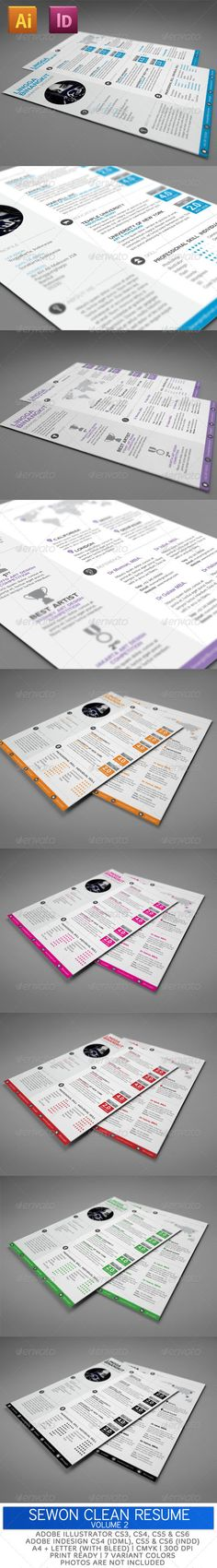 Really love the overall look and unique features of this resume style!   Creative resume design, resume style, cv, curriculum vitae  Sewon Clean Resume Template Volume 2 - GraphicRiver Item for Sale