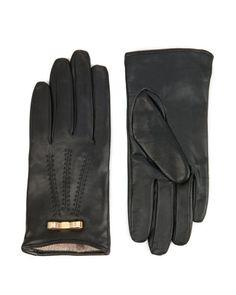 Bow detail leather gloves - Black | Gloves | Ted Baker
