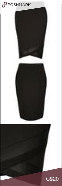 NWOT CROSS-FRONT SCUBA PENCIL SKIRT Pull on waist. 23 in (88.5cm) long, measured to shortest hem.  95% Polyester 5% Spandex with 100% Nylon trim Machine wash  Smoke free, pet friendly home. Ricki's Skirts Pencil Pencil, Two Piece Skirt Set, Smoke Free, Spandex, Skirts, Closet, Things To Sell, Style, Fashion