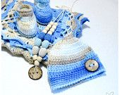 Baby boy gift set - baby blanket hat booties & nursing necklace - granny square afghan for baby- navy blue beige white READY TO SHIP