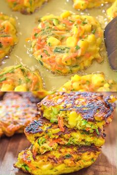 These Vegetable Fritters are truly the best! Made with zucchini, carrot, and corn, they make a great lunch or snack, and Best Vegetable Recipes, Vegetarian Recipes, Healthy Recipes, Vegetable Lunch, Baby Food Recipes, Indian Food Recipes, Cooking Recipes, Fried Zucchini Recipes, Quick Dinner Recipes
