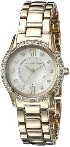 Anne Klein Women's AK/2160MPGB Swarovski Crystal Accented Gold-Tone Bracelet Watch ** Visit the image link more details.