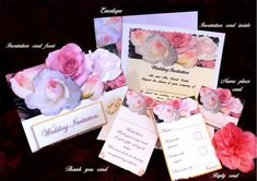 a beautiful set of wedding stationary, consisting of the invitation front and inside, envelope to match, place name card, thank you card, reply card, a sheet of extras, a sheet of instructions, and a sheet with suggestions for your wording, i hope you enjoy these invitations, and your wedding.