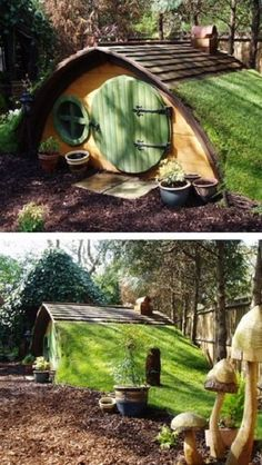 Cute Hobbit House Kit in Garden If your garden is not suitable for a treehouse then why not give a corner of it a touch of 'Tolkien' Magic with these beautifully crafted, original 'Hobbit Holes'. Cubby Houses, Play Houses, Cool Dog Houses, Amazing Houses, Hobbit Hole, The Hobbit, Hobbit House Kit, Garden Playhouse, Hobbit Playhouse