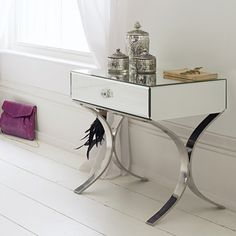 Bedroom, Awesome Bedside Table With Mirror Side And Curvy Eachside Also Chromed Steel Legs And Single Drawer: Pretty Unique Bedside Table Design Ideas For Cheerful Bedroom