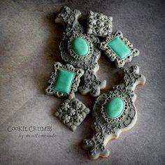 #7 - Silver and Turquoise Cookies by mintlemonade (cookie crumbs)