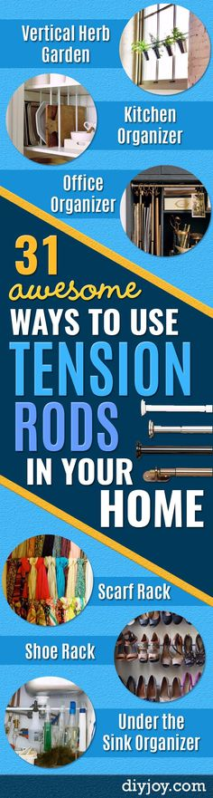 Cool DIY Ideas With Tension Rods - Quick Do It Yourself Projects, Easy Ways To Save Money, Hacks You Can Do With A Tension Rod - Window Treatments, Small Spaces, Apartments, Storage, Bathroom, Kitchen, Closet Organizing and Decor Ideas for Kids Rooms - DIY Projects and Crafts by DIY JOY http://diyjoy.com/diy-ideas-tension-rods