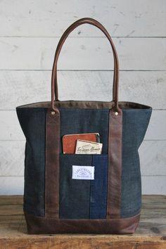 Early 1900's Indigo Dyed Boro Cotton Carryall