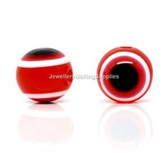 Red Evil Eye Stripe Round Resin Beads  9mm10mm by jewelrymsupplies