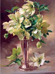 Hellebores with Silver | Mill House Fine Art – Publishers of Anne Cotterill Flower Art
