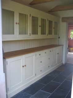 Love this wall of dresser style cabinets. Rustic Kitchen Cabinets, Kitchen Dresser, Craftsman Kitchen, Kitchen Units, House Inside, Cabinet Styles, Home Additions, Kitchen Colors, Home Decor Furniture