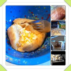 CHEESY RANCH CHICKEN POCKETS 1 chicken breast 1 thing of crescent rolls 8 oz cream cheese 2 cups shredded cheese Sprinkling of a ranch packet mix 1.Boil chicken 2. Shred chicken ingredients 3. Roll up in crescents 4. Bake at 350 degrees until golden brown 5. Enjoy!!