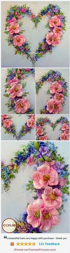 Floral heart ribbon embroidery kit for upholstery pillow embroidered panel cushion for luxury home silk ribbon ribbon work ribbon flowers . https://www.etsy.com/SilkRibbonembroidery/listing/592906932/floral-heart-ribbon-embroidery-kit-for?ref=listing_published_alert (Pinned using https://PromotePictures.com)