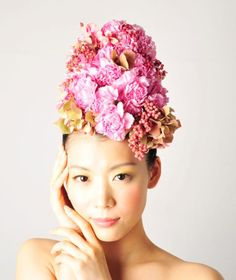 Stunning floral 'hairdressing' by Japanese artist Takaya Hanayuishi: My Pink Carnation Dreams.
