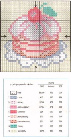 Cake with Cherry - free cross stitch or hama bead chart