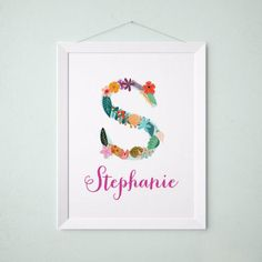 Personalized baby name wall art vintage floral letters floral personalized baby name wall art vintage floral letters negle Choice Image