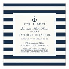 Navy Nautical It's a Boy Baby Shower Invitation Modern baby shower invitation featuring navy and white stripes and anchor. Other colors are available. Fun baby shower invites - customize your invitations Baby Shower Mexicano, Baby Boy Shower, Baby Shower Gifts, Baby Gifts, Custom Baby Shower Invitations, Nautical Baby, Nautical Anchor, Baby Shower Decorations, Shower Centerpieces