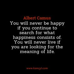 """""""You will never be happy if you continue to search for what happiness consists of. You will never live if you are looking for the meaning of life."""", Albert Camus"""