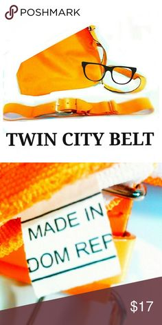 "TWIN CITY BELT HOT MUSTARD YELLOW SUMMER COLOR Mustard yellow elastic stretch belt. Made in the Dominican Republic this Twin City Belt will make any outfit pop! Approx measure 40"" long and 1 3/4"" wide. Belt adjust from 25"" long out to 40"" long. Silver color buckle and fixtures. Belt is white on the inside EUC Ask B4 you buy! Twin City Accessories Belts"