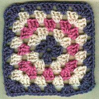 "Basic Granny Square   Written by Julie A. Bolduc  Materials Needed:  Small amount worsted weight 4ply yarn, any color.  Size G aluminum crochet hook  yarn needle    Yarn Thickness: 4mm  Gauge: 4dc=1""  Finished Size: 6"" x 6""  Skill Level: Beginner"