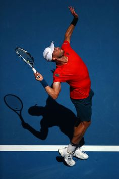 Day 1: James Duckworth of Australia serves in his first round match against Rafael Nadal of Spain during day one of the 2019 Australian Open at Melbourne Park on January 14, 2019 in Melbourne, Australia.