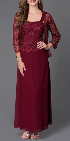 This long modest plum dress is perfect for mother of the bride or another formal occasion. This chiffon lace with pebble dress has wide sleeveless tank straps and also includes a matching length sleeve lace bolero jacket. Mother Of Groom Dresses, Mothers Dresses, Mob Dresses, Fashion Dresses, Formal Dresses, Dark Red Bridesmaid Dresses, New Dress, Lace Dress, Classy Outfits For Women