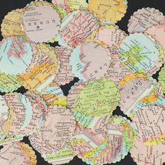 Vintage craft supplies- 100 world atlas map paper circle punches