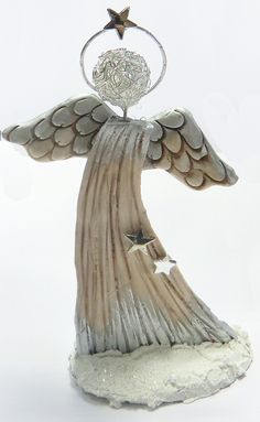 Engel aus lufttrocknender Modelliermasse gebastelt www.babsi.at
