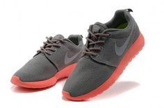 Nike Roshe Run Womens Light Gray Red Mesh Shoes