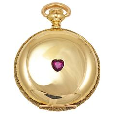 Agassiz Yellow Gold Pocket Watch with Heart-Shaped Ruby | From a unique collection of vintage pocket watches at http://www.1stdibs.com/jewelry/watches/pocket-watches/
