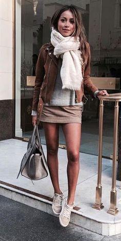 Neutral look   Brown jacket, pale brown skirt, sneakers and scarf