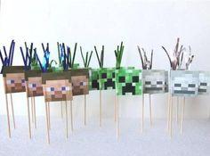 DIY Printable Minecraft Cupcake Picks Cake by PartyPerksWrappers