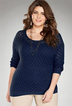 Plus Size Crochet Pullover Sweater   Plus Size Sweaters & Cardigans   Avenue