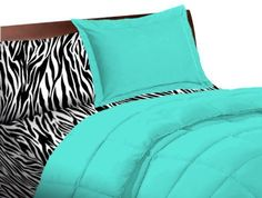 """5 Piece Turquoise Zebra Twin Extra Long Bedding Set by TwinXL.com. $99.99. Extra fluffy comforter with 38 oz fill weight.. Ivy Union Premium Comforter: Twin extra long size comforter 66"""" x 92"""".. Twin XL Sheet Set: 3 piece sheet set, 250 thread count.. Sham included.. Zebra animal Print. Your complete twin XL bedding set! Comes with durable high quality comforter with sham, and twin XL sheets. Get all your college dorm bedding essentials in one low price in the specialty twi..."""