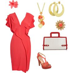 """Coral/Rose/White/Gold"" by violetfemme-71 on Polyvore"
