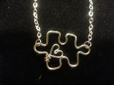 Handmade Sterling Silver or Gold Wire Puzzle Piece with a Heart Necklace, Autism Awareness Necklace, Puzzle Piece Necklace