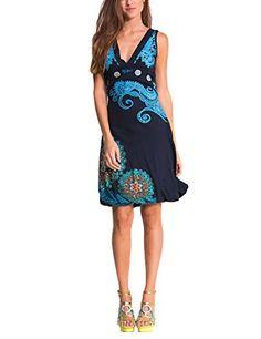 Desigual Laurita - Robe - Boule - Imprimé - Sans manche - Femme - Bleu  (Marino) - FR  40 (Taille fabricant  L)  Amazon.fr  Vêtements et accessoires 54fb6f3059ae