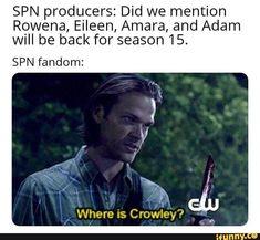wHeRE iS cROwlEy? Cr: idk who [srry] . spn spnmemes crowley supernatural lol lmao memes meme spnfamily like likes sam dean winchester demon spnfandom fandom Adam Supernatural, Funny Supernatural Memes, Spn Memes, Supernatural Seasons, Castiel, Crowley Spn, Sherlock Quotes, Johnlock, Superwholock