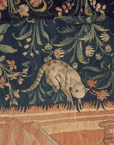 Detail of a cat - Wool and silk tapestry, The Netherlands, 1520 - Paris, Musée de Cluny