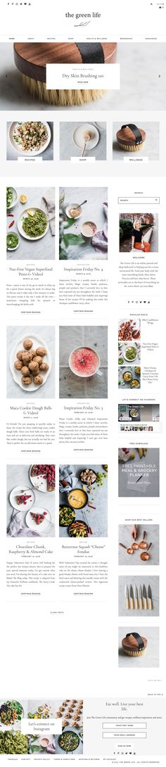 Absolutely in love with The Green Life's new website redesign! The subdued color scheme is simply perfect when paired with the delicious food photography. Using Station Seven's Analogue WordPress theme as a foundation, it's currently my favorite food blog!