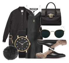 """""""#Look:#418"""" by dollarwomanlux ❤ liked on Polyvore featuring Zara, Yves Saint Laurent, Gucci, Versace, Ray-Ban, Marc by Marc Jacobs and Fendi"""